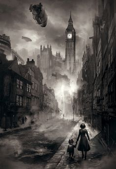 iQiOi Co. is raising funds for Blackmore: A Steampunk Adventure Game on Kickstarter! Japanese adventure game set in steampunk London, created by Japanese and US game industry veterans in a rich style. Diesel Punk, Fantasy World, Dark Fantasy, Gothic Fantasy Art, Steampunk Kunst, Steampunk City, Steampunk Drawing, Victorian Steampunk, Victorian Fashion