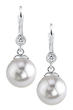 14K White Gold 7.5-8mm White Japanese Akoya Cultured Pearl & Diamond Earrings