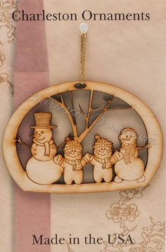 Unique Wooden Snowman Family of 4 Ornament, Snowman Family Ornament, Unique Snowman Family Gift, Snowman Family Christmas Decor
