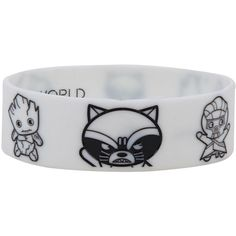 Marvel Guardians Of The Galaxy Chibi Glow-In-The-Dark Rubber Bracelet... ($8.40) ❤ liked on Polyvore featuring jewelry, bracelets, rubber jewelry, glow in the dark jewelry and rubber bangles