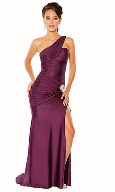 Strapless One Shoulder Formal Dress.... change color and lose the broach
