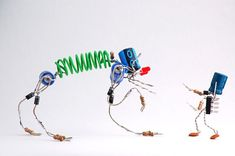 """""""Spare bits = spare bots. Time on hands + obsession with uselessness = make trivial things. Made from capacitors, diodes, resistors, leds, bits of wire, solder, and time..."""" – Lenny & Meriel. http://avaxnews.net/funny/SpareBots_by_Lenny_and_Meriel.html"""