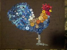 Blue hen in buttons and beads