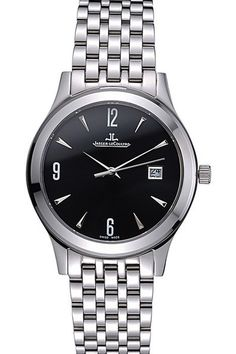 Mens Replica Jaeger LeCoultre Master Black Dial Polished Stainless Steel Bezel Watch With Stainless Steel Bracelet