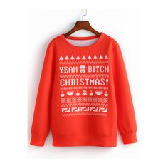 SheIn(sheinside) Red Round Neck Christmas Print Sweatshirt (61 BRL) ❤ liked on Polyvore featuring tops, hoodies, sweatshirts, red, red sweatshirt, patterned sweatshirts, print pullover, long sleeve tops and round neck top