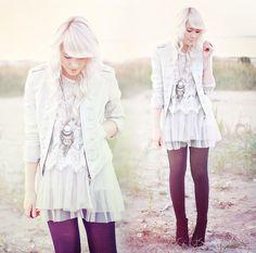 Leather Jacket, Lace Fringe Blouse, Tutu Skirt, Necklace