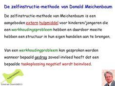 De zelfinstructie-methode van Meichenbaum is een aangeboden extern hulpmiddel voor kinderen/jongeren die een werkhoudingsprobleem hebben. StiBCO