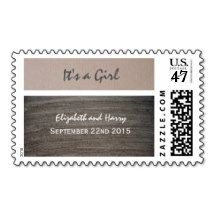 Clay & Kraft Effect It's a Girl Baby Announcement Postage