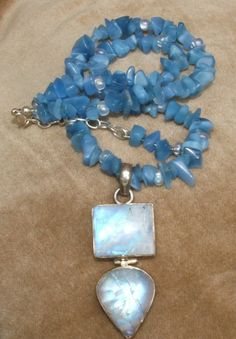 Moonstone and blue quartz chip necklace by MartiMouse on Etsy, $65.00
