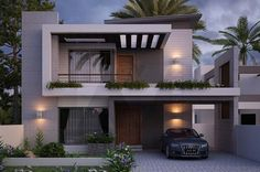 modern home design architecture Modern Small House Design, Bungalow House Design, House Front Design, Minimalist House Design, Facade Design, Exterior Design, Dream House Exterior, House Elevation, Modern Architecture House