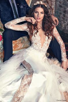 galia lahav spring 2016 bridal dresses long lace sleeves deep v neck plunging neckline mermaid wedding dress tiger lily closeup - Deer Pearl Flowers