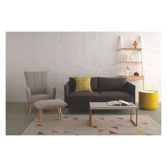 The Hyde grey fabric 2 seater sofa delivers high comfort with slender proportions. Buy now at Habitat UK. Fabric Armchairs, Fabric Sofa, Grey Fabric, Small Armchairs, Yellow Fabric, Home Living Room, Living Room Designs, Yellow Storage, Shabby Chic Sofa