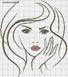 point de croix visage de femme - cross stitch woman's face