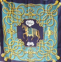 b9125148ac13 Carré Hermès Vintage Palefroi, Motif Equestre, par F. de la Perrière, vert