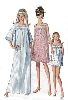 1960s Vintage Sewing Pattern Simplicity 7096 Babydoll Pajamas Nightgown Panties Size 18 Bust 38 inches