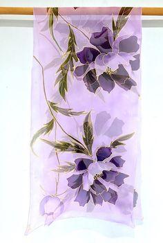 Hand Painted Silk Scarf Large Silk Scarf Bridal Chiffon Purple Colour Flowers, Purple Peonies, Chiffon Shawl, Silk Shawl, Silk Chiffon, Purple Scarves, Silk Scarves, Violet Pastel, Fabric Paint Designs