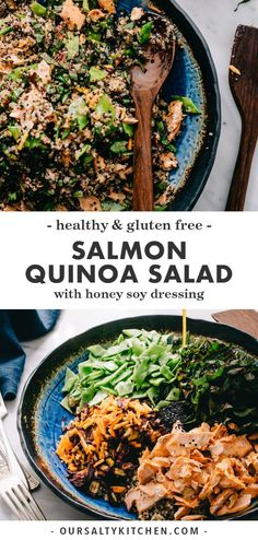 This salmon quinoa salad with honey soy dressing checks all of my weeknight dinner requirements - healthy, easy, and fast. It's a perfect recipe for using up leftover salmon! Salmon Salad Recipes, Healthy Salad Recipes, Whole Food Recipes, Free Recipes, Healthy Food, Clean Eating Recipes For Dinner, Dinner Healthy, Recipes Dinner, Drink Recipes