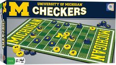 This MasterPieces NCAA Michigan Checkers Game is the classic game of checkers where the king wears a Michigan football helmet! The Michigan checkers game includes 24 Michigan checkers pieces, 8 Michigan football helmet king pieces, a x Michigan Wolverines, Michigan Football Helmet, Michigan M, University Of Michigan, State University, Checkers Board Game, Board Game Pieces, Preschool Board Games, Board Games For Couples