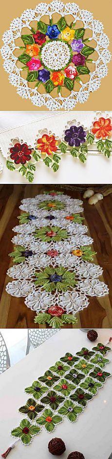 Вязание крючком с использованием меланжевой пряжи. Салфетки и обвязка края.