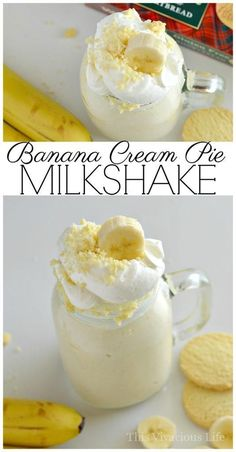 This banana cream pie milkshake is the perfect dessert for those of you who love Thanksgiving pie but don't want to go to all the trouble of making it. You are going to love these classic pie flavors that can be made in minutes. Banana Shake Recipe, Banana Milkshake, Milkshake Recipes, Banana Recipes, Smoothie Recipes, Pie Recipes, Gourmet Recipes, Dessert Recipes, Milkshakes