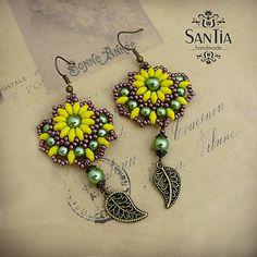 San-Tia / Náušnice boho: žlto-zeleno-bordové