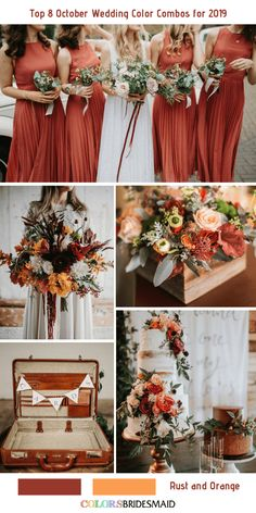 Top 8 October Wedding Color Combos for Rust + Orange. wedding colors Top 8 October Wedding Color Combos for 2019 Fall Wedding Flowers, Fall Wedding Colors, Color Palette For Wedding, Country Wedding Colors, Orange Wedding Colors, Wedding Ideas Colours, Wedding Color Schemes Fall Rustic, Autumn Wedding Bouquet, Autumn Wedding Decorations