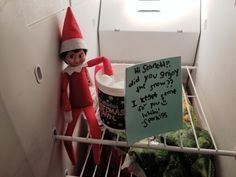 Elf on the shelf idea, snow day elf on the shelf, Elf on the shelf in the fridge, simple elf on the shelf ideas, #elfontheshelf by RSSCustomCreations