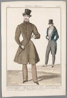 1829 Costume Parisien, nr. 2735: Redingote polonaise ornée de broderies en tresses. Pantalon couleur terre du Balkan. — Habit de drap à collet de...