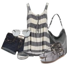 A fashion look from June 2013 featuring Aspesi tops, Hollister Co. shorts and Tory Burch sandals. Browse and shop related looks. Oufits Casual, Casual Outfits, Fashion Outfits, Womens Fashion, Fasion, Fashion Tips, Cute Summer Outfits, Short Outfits, Cute Outfits