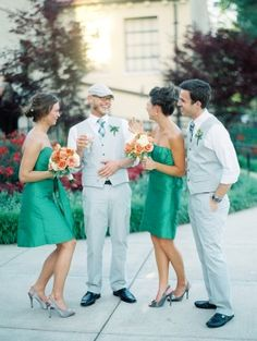 I LOVE this combo! Although I think only the groom should have the plaid tie, the other guys get solid.