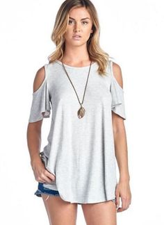 Cut Out Cold Shoulder Short Sleeve #cold-shoulder-short-sleeve-top #cold-shoulder-t-shirt-top #cold-shoulder-tee-shirt-top