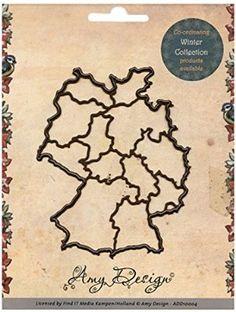 """card deco Amy Design Maps Stanz- und Prägeschablone ADD10005, """"Landkarte Deutschland"""", Schablonengrö"""