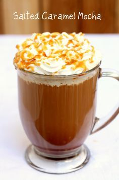 Salted Caramel Mocha (1 shot of espresso or 3/4 cup coffee 2 Tbs caramel sauce 1-2 Tbs cocoa powder Pinch of sea salt 1/2 cup milk)