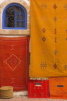 Carpets hanging outside shop in the medina, Essaouira, Morocco, North Africa, Africa