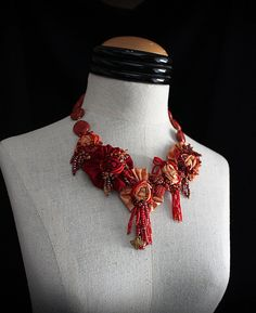 HOT TAMALE Red Orange Beaded Textile Statement by carlafoxdesign, $245.00