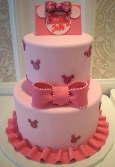 Another Minnie MOusse Cake just change the col to light, hot pink and magenta. Cake size 6  9.
