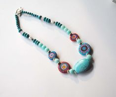 Turquoise Blue Necklace, Lampwork Bead Necklace, Abstract Necklace, Abstract Necklace, Stone Bead Necklace, Unique Funky Neckalce, by bstrung on Etsy