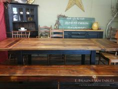6'L yellow pine table expands to 9'L with addition of company board extensions - E. Braun farm Tables and Furniture  - We use wood from dismantled barns and log homes dating from the 1800's to early 1900's to create rustic, one-of-a-kind, reclaimed barn wood furniture, in the heart of Amish Country, Lancaster, PA. Custom orders are our specialty. Visit our showroom located in Intercourse, PA. www.braunfarmtables.com, www.Facebook.com/braun.farmtables