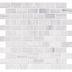 Polished Wooden White Limestone Mosaic - 1 inch x 2 inches