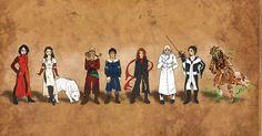 The Character Line Up: (From Left to Right) Anna Fang, Katherine, Dog, Peavey, Tom, Hester, Crome, Valentine, and Shrike.