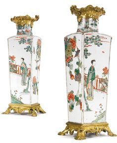 A PAIR OF LOUIS XV ORMOLU-MOUNTED CHINESE FAMILLE VERTE PORCELAIN VASES THE PORCELAIN KANGXI (1662-1722); THE MOUNTS MID-18TH CENTURY Estimation  30,000 — 50,000  USD
