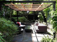 Don Statham Design - Brooklyn Brownstone garden room, Grid pergola, bluestone laid in ipe grid