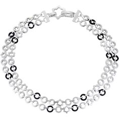 Montblanc Necklace - Double Necklace in Sterling Silver with Onyx