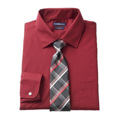 Men's Croft & Barrow® Slim-Fit Stretch-Collar Dress Shirt and Patterned Tie Boxed Set, Size: Xl-34/35, Med Pink