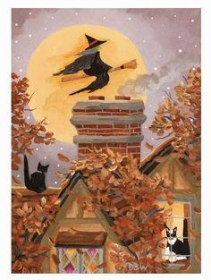 ACEO Original acrylic Painting folk art Halloween, witch, cats Autumn moon house Donna Beilstein Warren