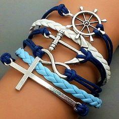 Cross Bracelet-Infinity Bracelet Silver Bracelets, Leather Bracelets, Fashion Bracelets, Layered Bracelets, Cute Bracelets, Woven Bracelets, Cheap Fashion Jewelry, Leather Cord, Bangle Bracelet
