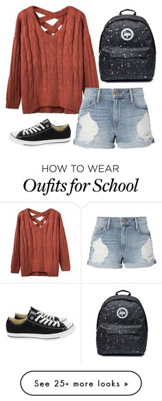 """school day outfit #2"" by dreamingofsunsets on Polyvore featuring Frame and Converse"