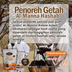 Serbuk prebiotik semula jadi gum arabic Al-Manna Ameer boleh dikatakan sebagai hasil usaha yang diperolehi dari kegigihan penoreh getah al-manna hashab atau akasia senegal yang dihasilkan dari batang dan dahan pokok purba ini. #almannaameer #gumarabicfood #inspirasihuda