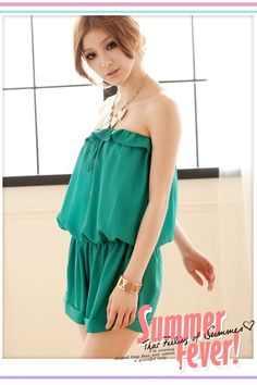 Trendy Strapless Lotus Leaf Waist Shaping Short Jumpsuit Green