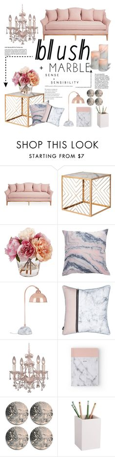 """Blush + Marble"" by iconsoffashion ❤ liked on Polyvore featuring interior, interiors, interior design, home, home decor, interior decorating, Nate Berkus, Crystorama, CB2 and homedecor"